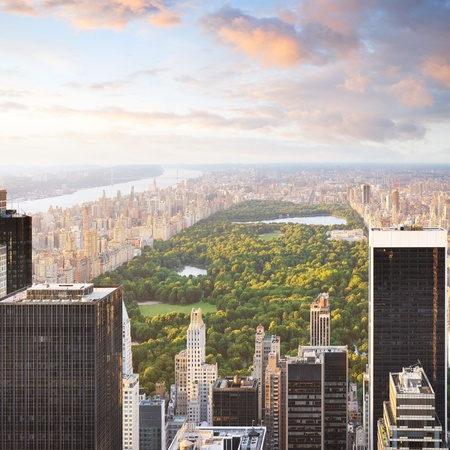 new york cityscape: New york manhattan at sunset - central park view Stock Photo