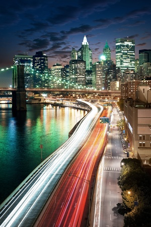 Amazing New York cityscape - taken after sunset  Stock Photo