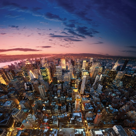 new york cityscape: Big Apple after sunset - new york manhattan at night
