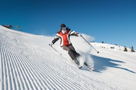 to ski: Girl On the Ski  Stock Photo