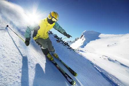 skier: Skier in high mountains