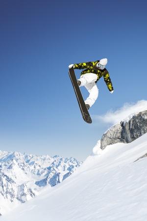 ski jump: Jumping snowboard