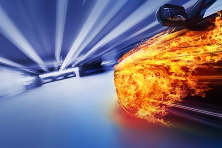 fast track: Car in fire
