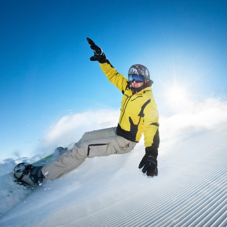 wintersports: Young snowboarder Stock Photo