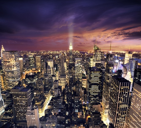 Big Apple after sunset - new york manhattan at night