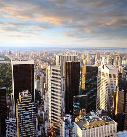 Manhattan New york au coucher du soleil - vue latérale de central park  Banque d'images