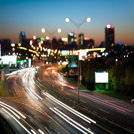 prague: Highway in to the big city at night - central Europe - Prague Stock Photo