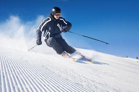 ski jump: Skier in high mountains - alpine Stock Photo