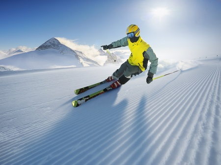 The Skier (first on the piste) 免版税图像