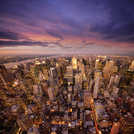 aerial view city: Big Apple after sunset - new york manhattan at night