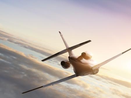 Avión comercial volando en el cielo alto  Foto de archivo