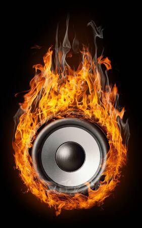 Burning speaker - design backroundfor posters Imagens