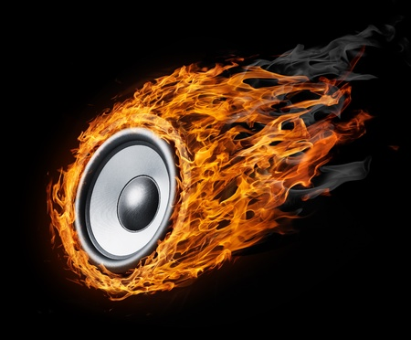 Burning speaker - design backroundfor posters Stock Photo