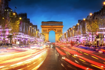 paris at night: Arc de triomphe Paris city at sunset - Arch of Triumph and Champs Elysees
