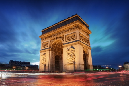arc: Arc de triomphe Paris city at sunset