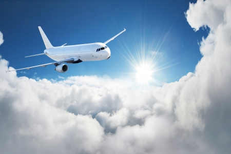 turbulence: Airplane in the sky - Passenger Airliner   aircraft Stock Photo