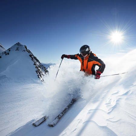 Skier in high mountains (skiing, ski, skier)