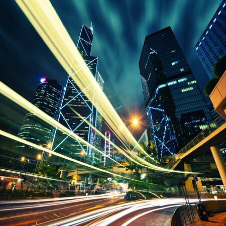 Hong Kong City center at night with light trails Imagens