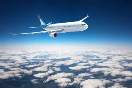 air view: Airplane in the sky - Passenger Airliner   aircraft Stock Photo