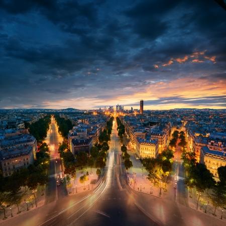 Vue imprenable de nuit Paris Banque d'images - 21971289