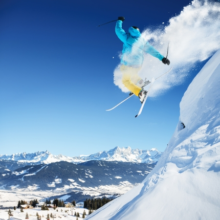 the high: Jumping skier