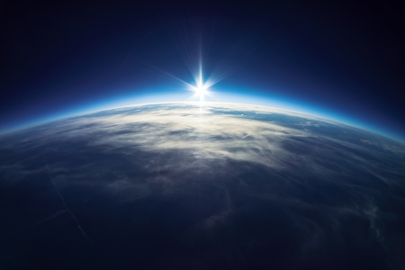 Near Space fotografie - 20km bovengronds echte foto Stockfoto