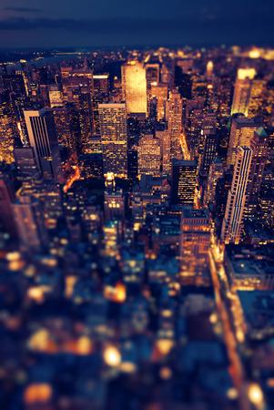 New York Manhattan at night with soft focus 写真素材