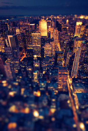 New York Manhattan at night with soft focus Stock Photo