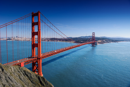 san francisco bay: San Francisco - Golden Gate Bridge at day Stock Photo