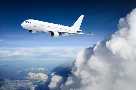passenger aircraft: Airplane in the sky - Passenger Airliner   aircraft Stock Photo