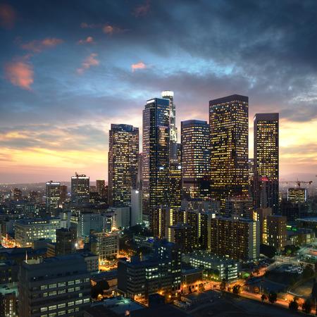 Los Angeles de stad in bij zonsondergang, Californië Stockfoto