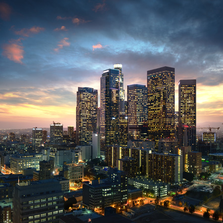 bussiness: Los Angeles downtown at sunset, California Stock Photo