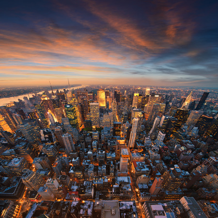 aerial view city: New York City skyline at sunset