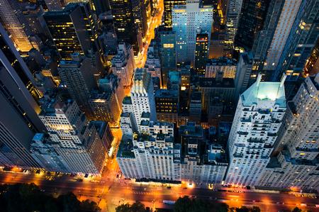 cenital: Ciudad de Nueva York - incre�ble amanecer en el parque central y la parte superior de este manhattan - Birds Eye Foto de archivo
