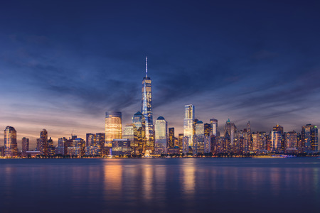 usa cityscape: New York City - Manhattan after sunset - beautiful cityscape Stock Photo