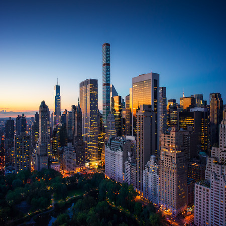 birds eye view: New York city - amazing sunrise over central park and upper east side manhattan - Birds Eye  aerial view