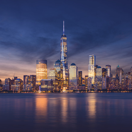 new york skyline: New York City - Manhattan after sunset - beautiful cityscape Stock Photo