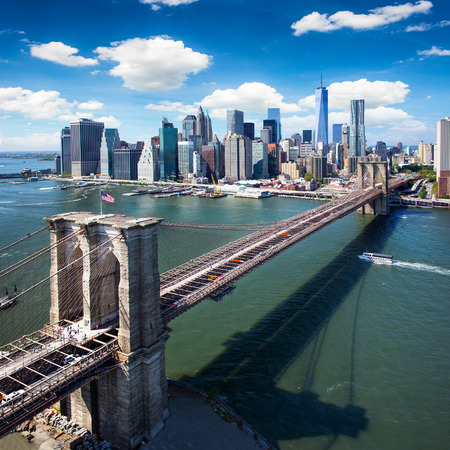 bay city: Brooklyn Bridge in New York City - aerial view Stock Photo