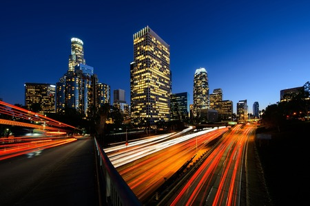 expressway: Los Angeles downtown after sunset with high traffic.