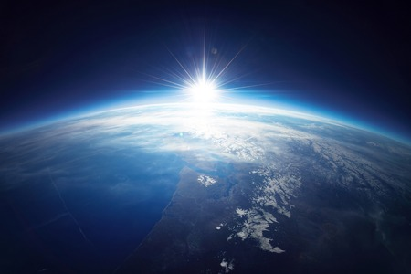 earth from space: Earth view from space with sunrise. Elements of this image furnished by NASA.