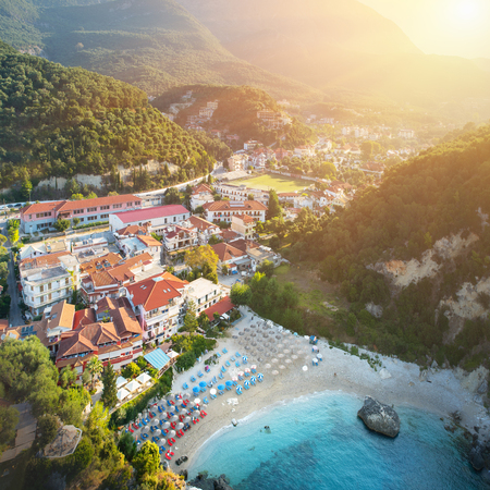 Amazing view to Parga port - beach in Greece at sunrise Stock Photo