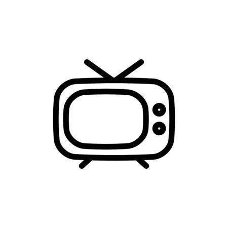 flat line television icon symbol sign, vector, logo template  イラスト・ベクター素材