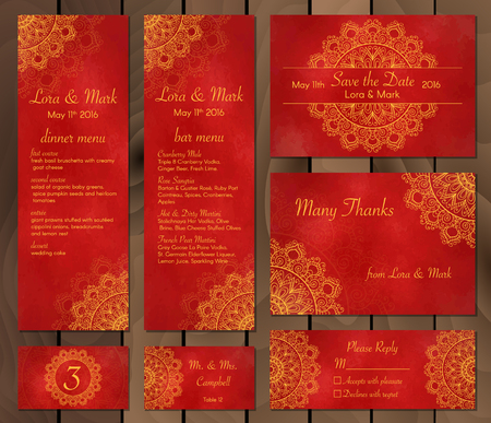 wedding table decor: Collection of ethnic cards,menu or wedding invitations with indian ornament. Vintage decorative round elements and lace frame. Hand drawn background. Islam, Arabic, Indian, Pakistan motifs.