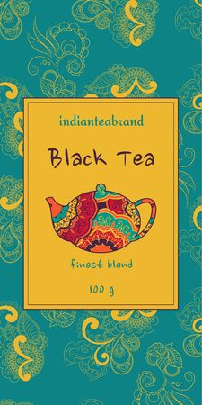 Card or tea package with ethnic ornaments. Oriental indian style. Hand-drawn patterns with round elements Illustration