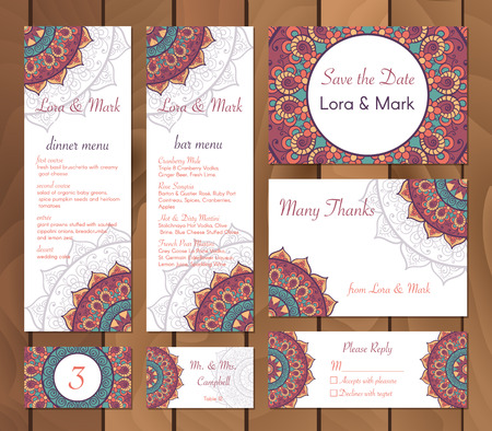 wedding table decor: Collection of ethnic cards,menu and wedding invitations with indian ornament. Vintage decorative round elements and lace frame. Hand drawn background. Islam, Arabic, Indian, Pakistan motifs. Vector Illustration