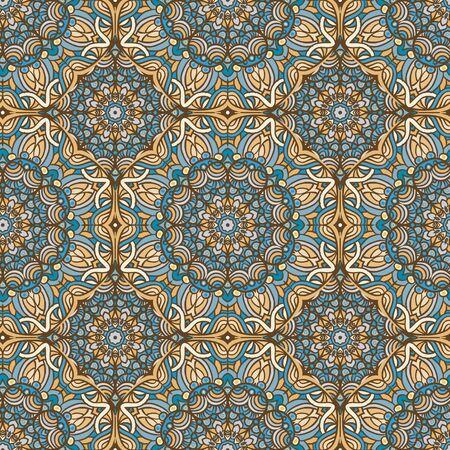 Seamless ethnic pattern with mandala. Vintage decorative elements. Hand drawn background. Islam, Arabic, Indian, ottoman motifs.