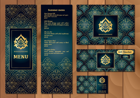 discount card: Vector illustration of a menu for a restaurant or cafe Arabian oriental cuisine, business cards and vouchers. Hand-drawn gold pattern on a dark background. Arabic flower.
