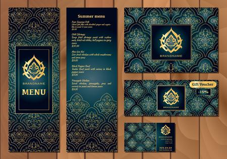 Vector ilustración de un menú de un restaurante o cafetería cocina oriental árabe, tarjetas de visita y vales. patrón de oro dibujado a mano sobre un fondo oscuro. flor árabe.