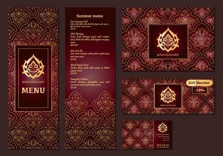 menu restaurant: Vector illustration of a menu for a restaurant or cafe Arabian oriental cuisine, business cards and vouchers. Hand-drawn gold pattern on a dark background. Arabic flower.