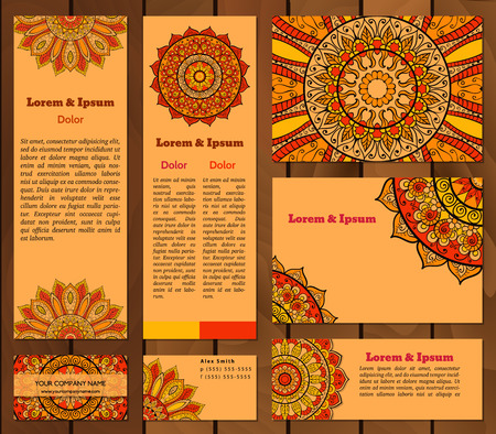 corporate people: Set of business cards templates with oriental ornament. Vector background. Indian, Arabic, Islam motifs. Vintage design elements. Mandala and seamless border decorative elements